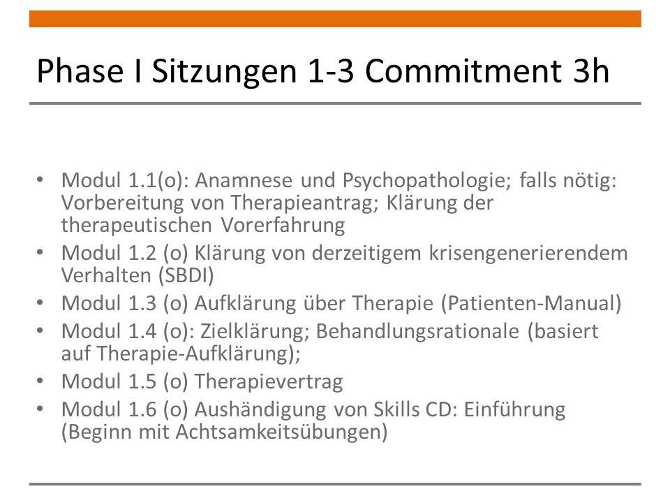 Phase I Sitzungen 1-3 Commitment 3h Modul 1.1(o): Anamnese und Psychopathologie; falls nötig: Vorbereitung von Therapieantrag; Klärung der therapeutischen Vorerfahrung Modul 1.2 (o) Klärung von derzeitigem krisengenerierendem Verhalten (SBDI) Modul 1.3 (o) Aufklärung über Therapie (Patienten-Manual) Modul 1.4 (o): Zielklärung; Behandlungsrationale (basiert auf Therapie-Aufklärung); Modul 1.5 (o) Therapievertrag Modul 1.6 (o) Aushändigung von Skills CD: Einführung (Beginn mit Achtsamkeitsübungen)