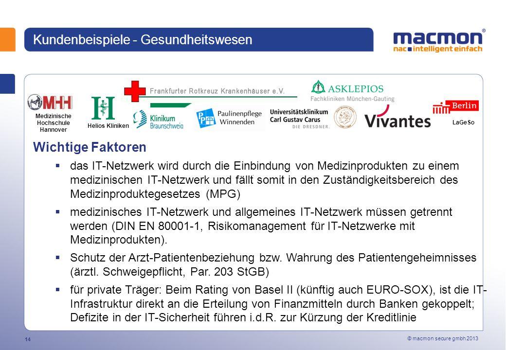 © macmon secure gmbh 2013 14 Kundenbeispiele - Gesundheitswesen Wichtige Faktoren das IT-Netzwerk wird durch die Einbindung von Medizinprodukten zu einem medizinischen IT-Netzwerk und fällt somit in den Zuständigkeitsbereich des Medizinproduktegesetzes (MPG) medizinisches IT-Netzwerk und allgemeines IT-Netzwerk müssen getrennt werden (DIN EN 80001-1, Risikomanagement für IT-Netzwerke mit Medizinprodukten).