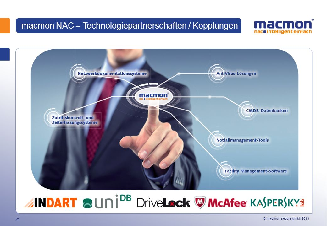 © macmon secure gmbh 2013 21 macmon NAC – Technologiepartnerschaften / Kopplungen