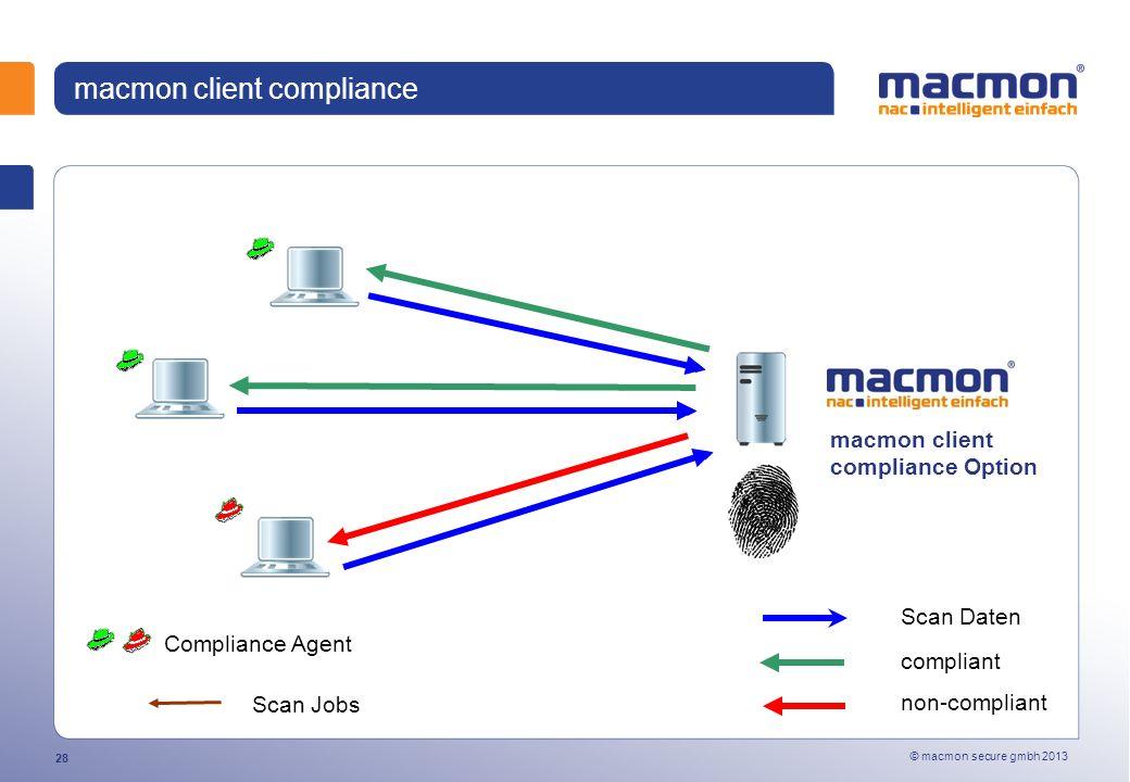 © macmon secure gmbh 2013 28 macmon client compliance Compliance Agent macmon client compliance Option Scan Daten compliant non-compliant Scan Jobs