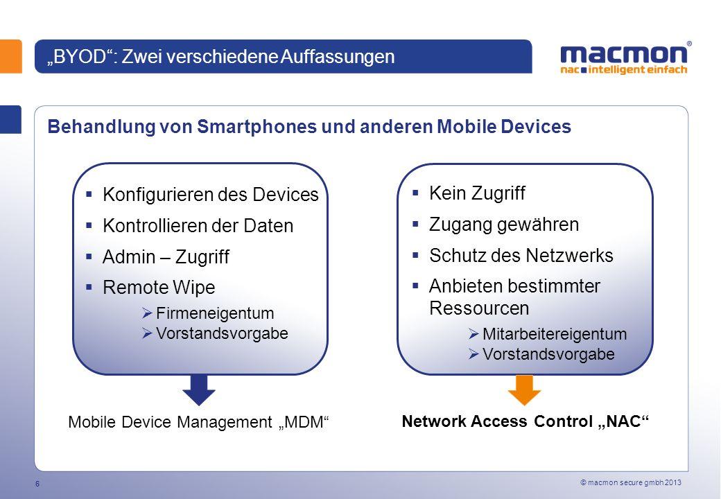 © macmon secure gmbh 2013 17 macmon NAC - Schutz vor Fremdgeräten macmon läuft auf einem zentralen Server keine Agenten oder Sensoren erforderlich keine Veränderungen der Netzwerkstruktur Außenstellen werden mit überwacht herstellerunabhängig modular von MAC-Authentifizierung bis zum Hardwarezertifikat (TPM-Chip) Remote LAN