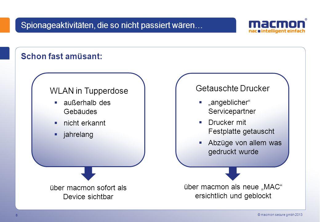 © macmon secure gmbh 2013 19 macmon NAC - MAC-Authentifizierung Schutz vor Fremdgeräten Erkennung und Lokalisierung von unautorisierten Geräten Erkennung von Veränderungen und Umzügen Live-Bestandsmanagement Gerätelokalisierung am Switch-Port SNMP oder Telnet/ SSH LAN Remote