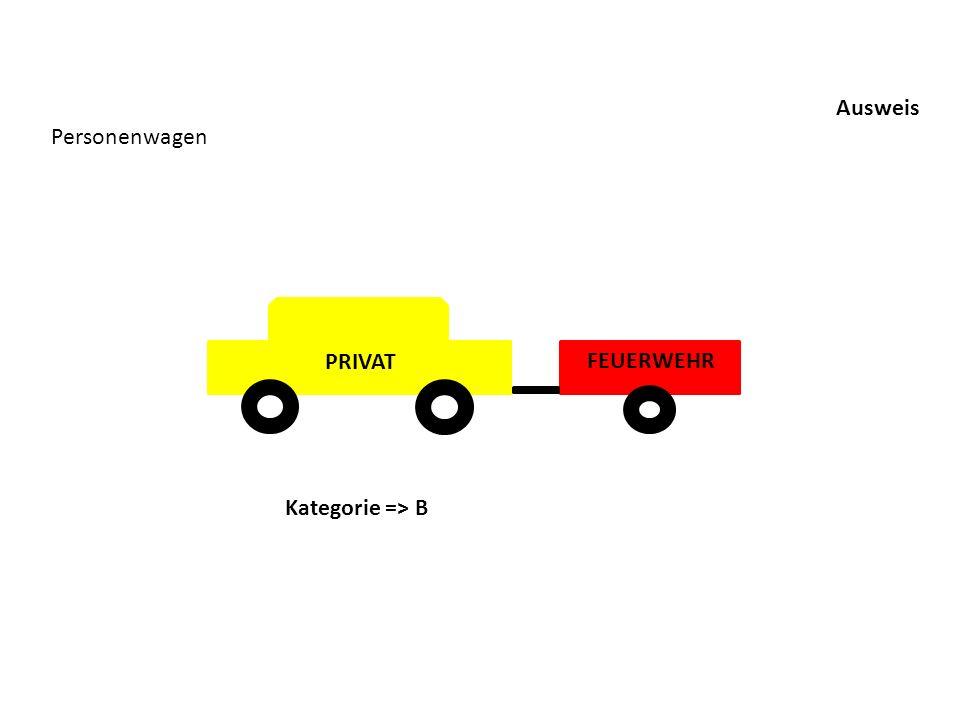 Ausweis Personenwagen Kategorie => B FEUERWEHR PRIVAT