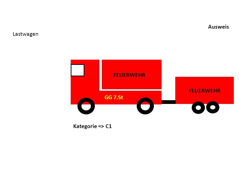 Ausweis Lastwagen Kategorie => C1 FEUERWEHR GG 7.5t FEUERWEHR