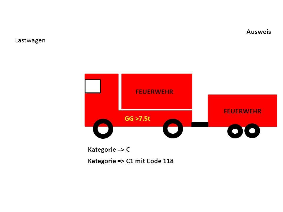 Ausweis Lastwagen Kategorie => C Kategorie => C1 mit Code 118 FEUERWEHR GG >7.5t FEUERWEHR