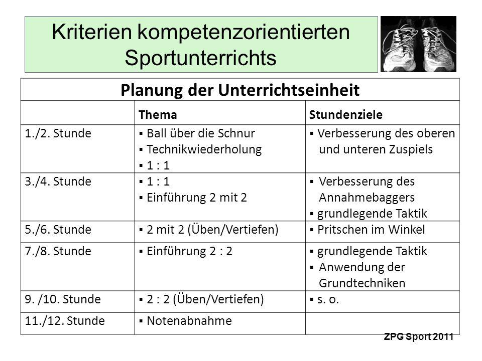 Kriterien kompetenzorientierten Sportunterrichts ZPG Sport 2011 Planung der Unterrichtseinheit ThemaStundenziele 1./2.