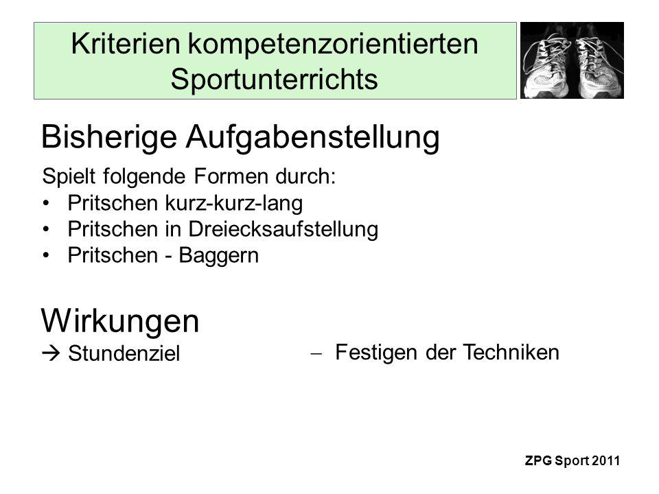 Kriterien kompetenzorientierten Sportunterrichts ZPG Sport 2011 Spielt folgende Formen durch: Pritschen kurz-kurz-lang Pritschen in Dreiecksaufstellung Pritschen - Baggern Bisherige Aufgabenstellung Festigen der Techniken Wirkungen Stundenziel