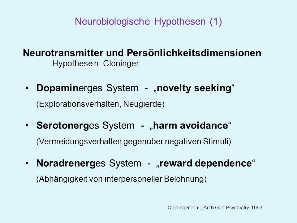 Gerra et al., Psychoneuroendocrinology,2000 Neuroendokrine Challenge-Untersuchungen zur Darstellung von Neurotransmittersystemen NeurotransmitterChallenge-SubstanzChallenge-MechnismusEndokrine Antwort Dopamin BromocriptinD2R-AgonistGH PRL Serotonin D-Fenfluramin 5HT-Freisetzung 5HTR-Agonist PRL Cortisol Noradrenalin Clonidineα2R-AgonistGH Neurobiologische Hypothesen (2)
