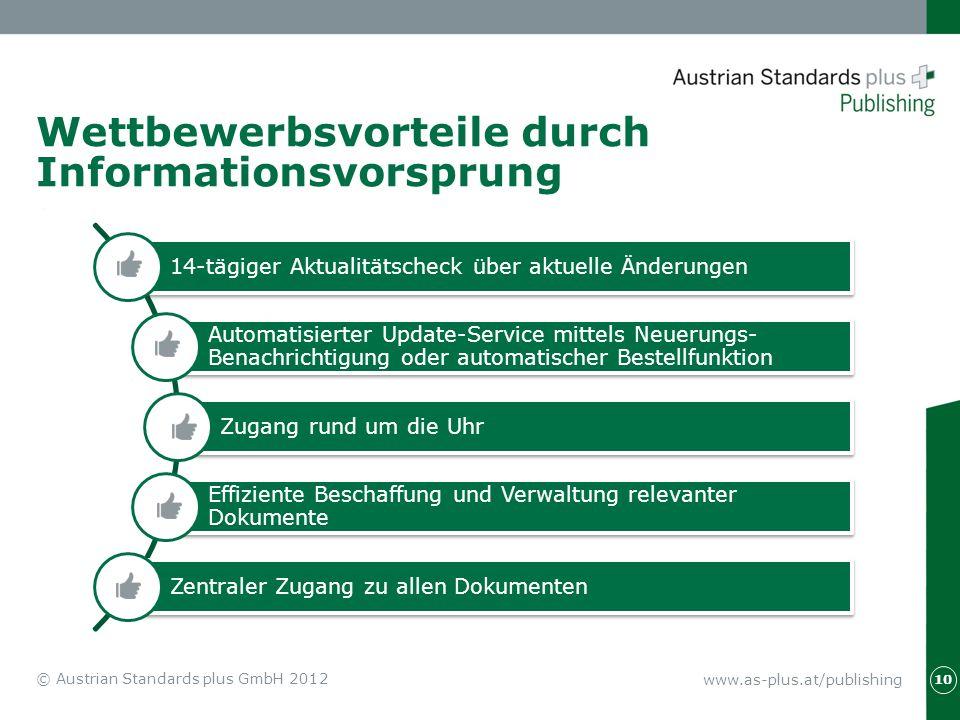 www.as-plus.at/publishing © Austrian Standards plus GmbH 2012 10 Wettbewerbsvorteile durch Informationsvorsprung 14-tägiger Aktualitätscheck über aktu