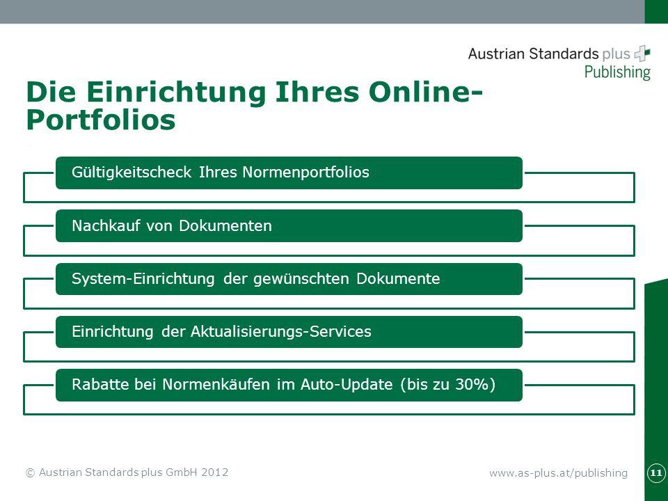 www.as-plus.at/publishing 11 © Austrian Standards plus GmbH 2012 Die Einrichtung Ihres Online- Portfolios Gültigkeitscheck Ihres NormenportfoliosNachk