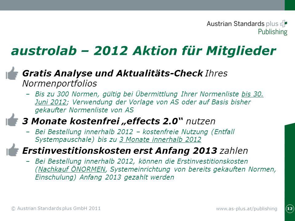 www.as-plus.at/publishing austrolab – 2012 Aktion für Mitglieder Gratis Analyse und Aktualitäts-Check Ihres Normenportfolios –Bis zu 300 Normen, gülti
