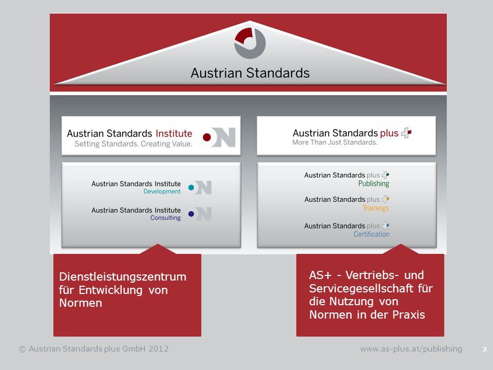 Die erste Adresse für den Zugang von Normen und Regelwerken 3 © Austrian Standards plus GmbH 2012 Shop (Beschaffung von Normen) Der Verlag (Bücher und Software) Normen Verwalten (effects 2.0) Recherche- und Beratungsdienstleistung