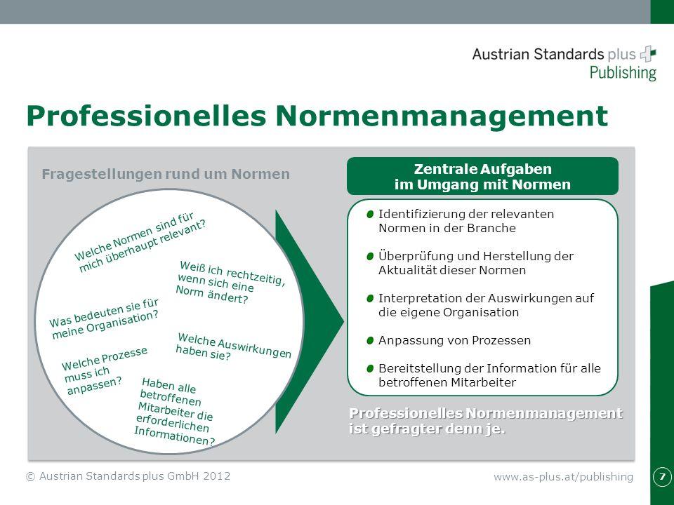 Professionelles Normenmanagement 7 Professionelles Normenmanagement ist gefragter denn je. Identifizierung der relevanten Normen in der Branche Überpr