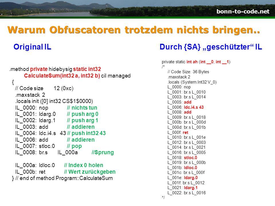 bonn-to-code.net Warum Obfuscatoren nichts bringen..