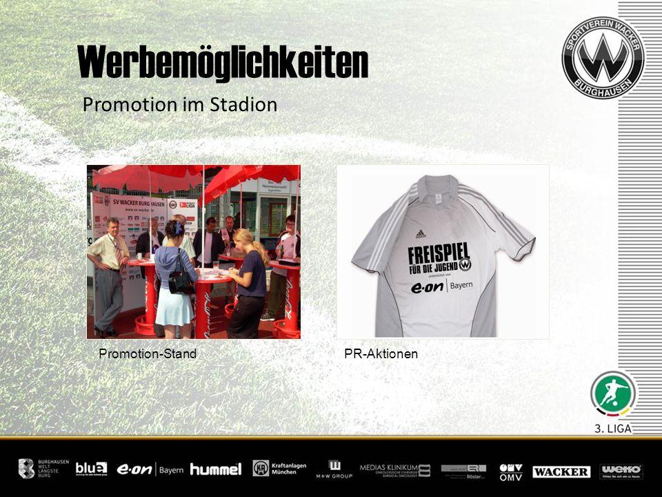 + Promotion-Stand PR-Aktionen Promotion im Stadion Werbemöglichkeiten