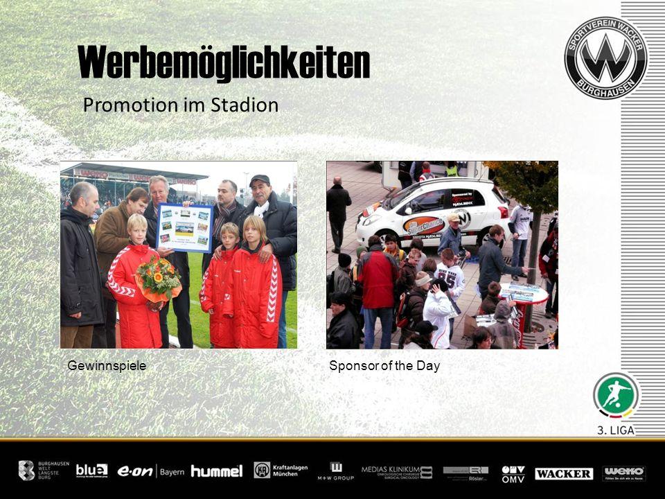 Gewinnspiele Promotion im Stadion Werbemöglichkeiten Sponsor of the Day