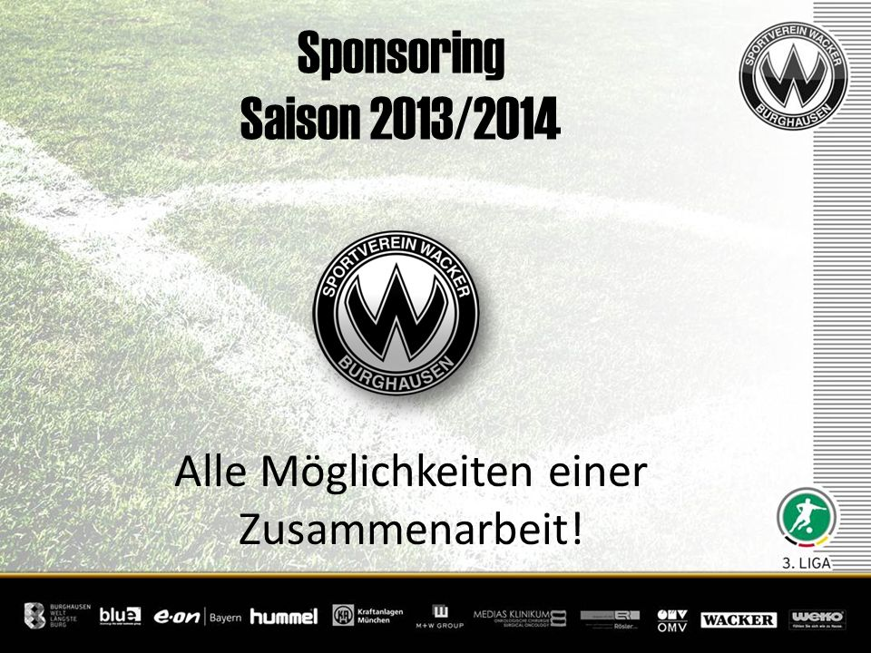 Sponsoring Saison 2013/2014 Alle Möglichkeiten einer Zusammenarbeit!