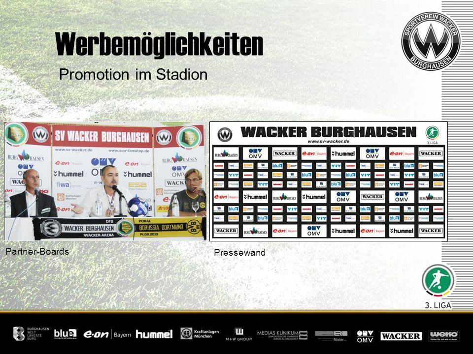 Promotion im Stadion Werbemöglichkeiten Partner-Boards Pressewand