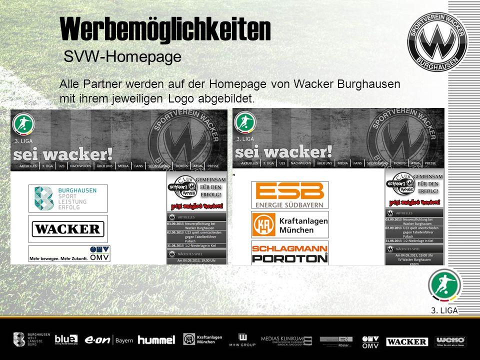 SVW-Homepage Werbemöglichkeiten Alle Partner werden auf der Homepage von Wacker Burghausen mit ihrem jeweiligen Logo abgebildet.