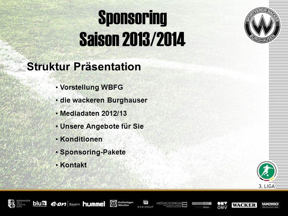Sponsoring Saison 2013/2014 Struktur Präsentation Vorstellung WBFG die wackeren Burghauser Mediadaten 2012/13 Unsere Angebote für Sie Konditionen Spon