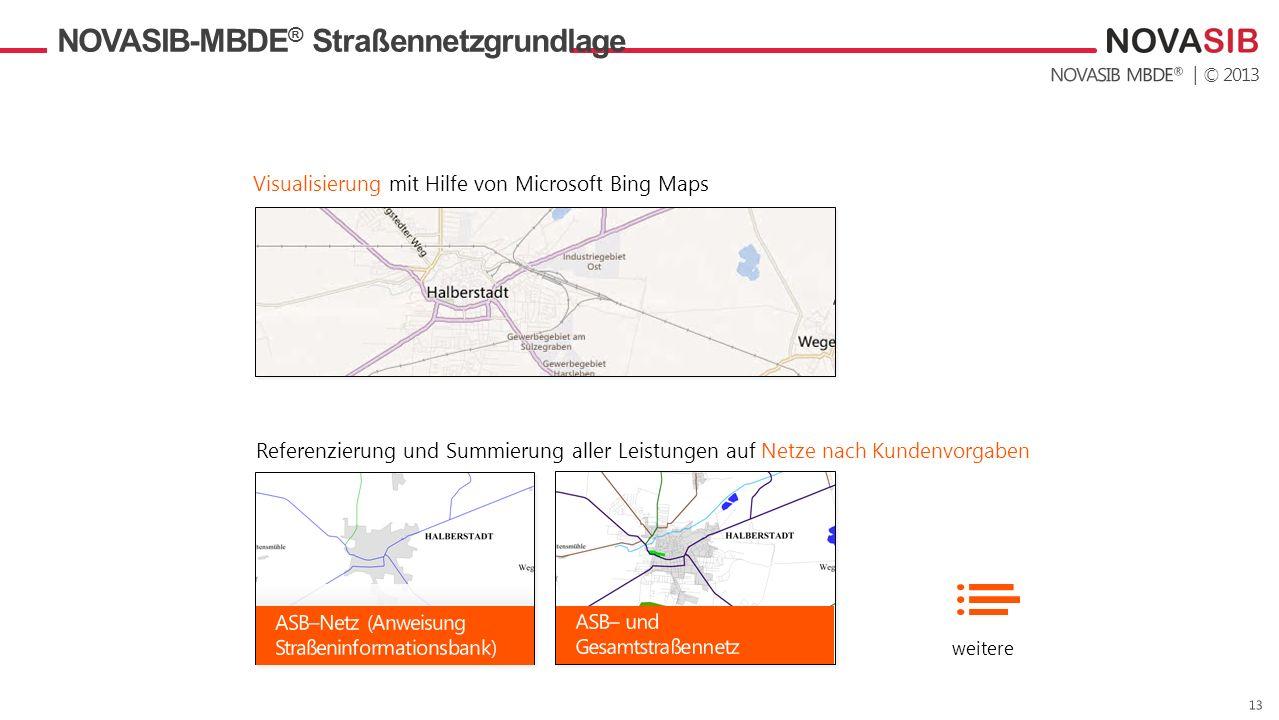 | © 2013 NOVASIB-MBDE ® Straßennetzgrundlage Visualisierung mit Hilfe von Microsoft Bing Maps Referenzierung und Summierung aller Leistungen auf Netze