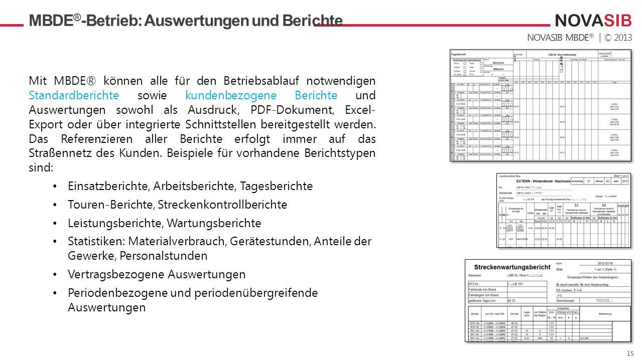 | © 2013 MBDE ® -Betrieb: Auswertungen und Berichte Mit MBDE® können alle für den Betriebsablauf notwendigen Standardberichte sowie kundenbezogene Berichte und Auswertungen sowohl als Ausdruck, PDF-Dokument, Excel- Export oder über integrierte Schnittstellen bereitgestellt werden.