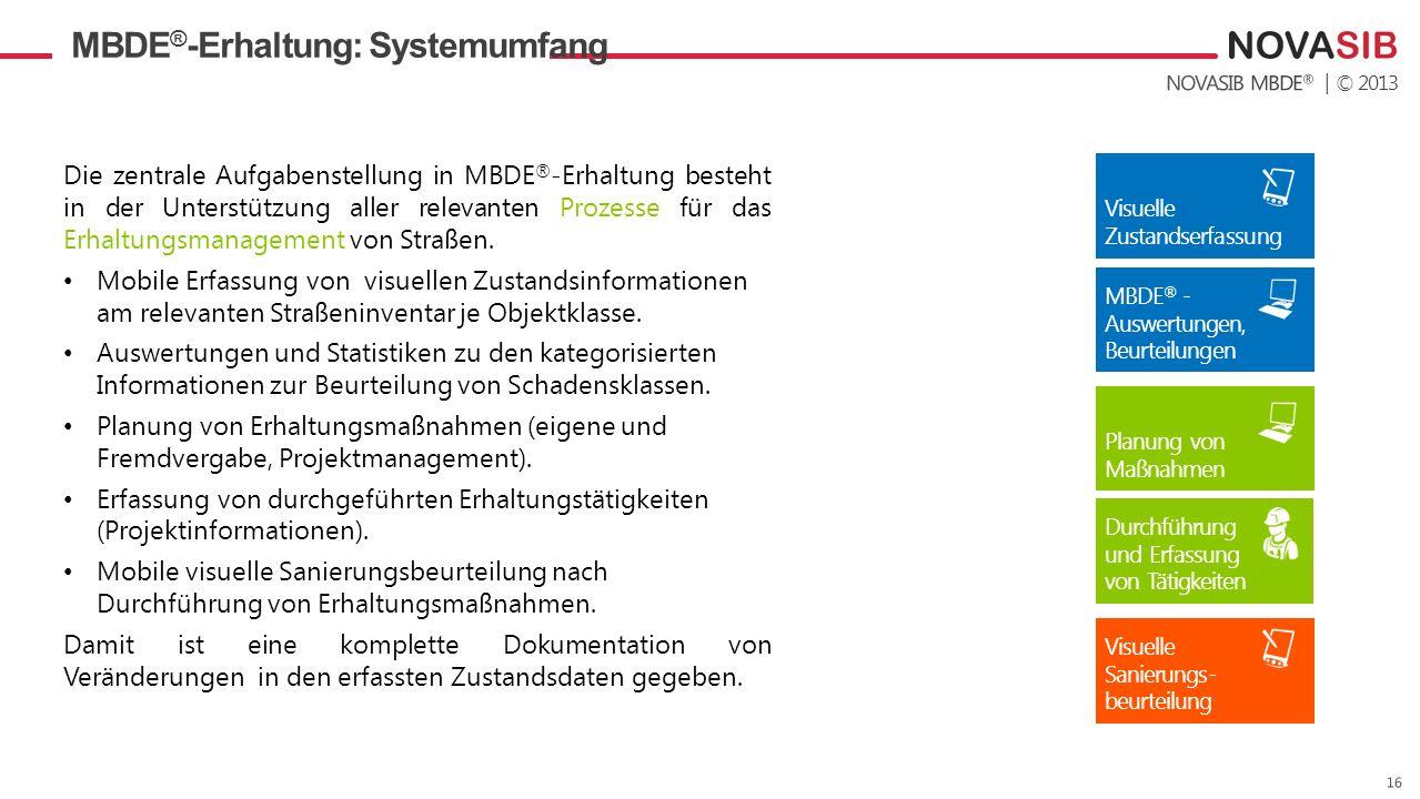 | © 2013 MBDE ® -Erhaltung: Systemumfang Die zentrale Aufgabenstellung in MBDE ® -Erhaltung besteht in der Unterstützung aller relevanten Prozesse für das Erhaltungsmanagement von Straßen.