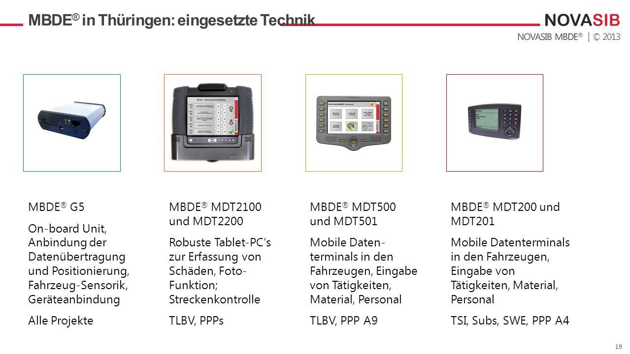 | © 2013 MBDE ® in Thüringen: eingesetzte Technik MBDE ® G5 On-board Unit, Anbindung der Datenübertragung und Positionierung, Fahrzeug-Sensorik, Gerät