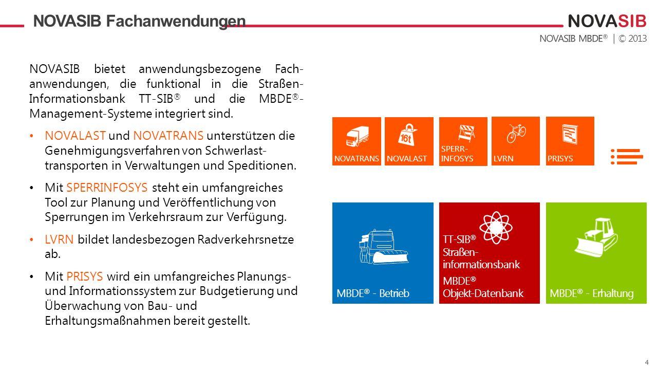 | © 2013 NOVASIB Fachanwendungen TT-SIB ® Straßen- informationsbank MBDE ® Objekt-Datenbank MBDE ® - BetriebMBDE ® - Erhaltung LVRN SPERR- INFOSYS NOV