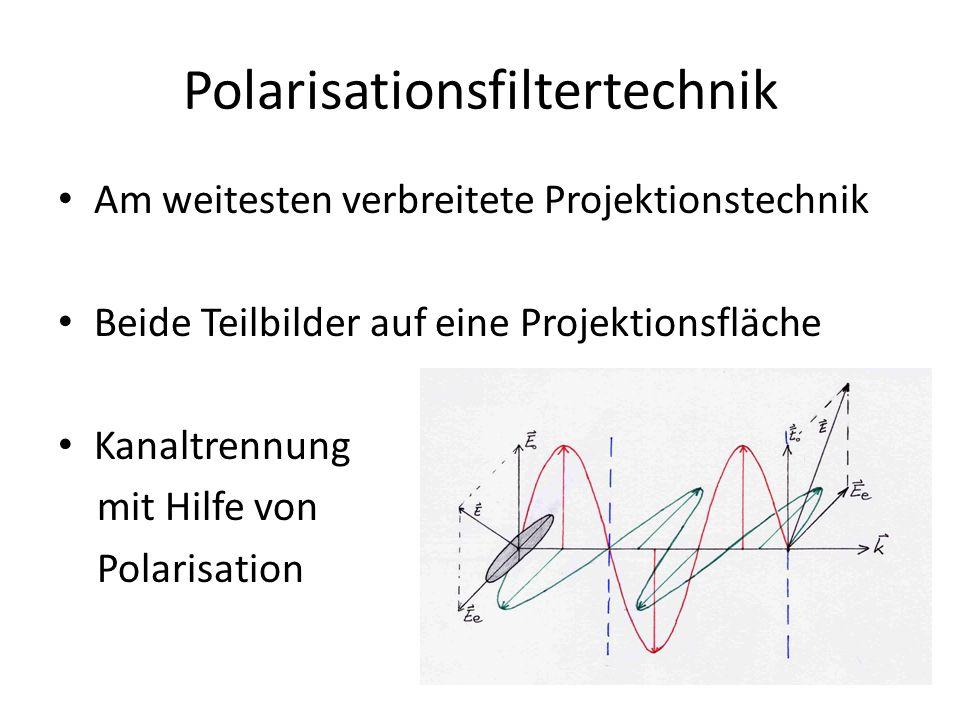 Polarisationsfiltertechnik Am weitesten verbreitete Projektionstechnik Beide Teilbilder auf eine Projektionsfläche Kanaltrennung mit Hilfe von Polaris