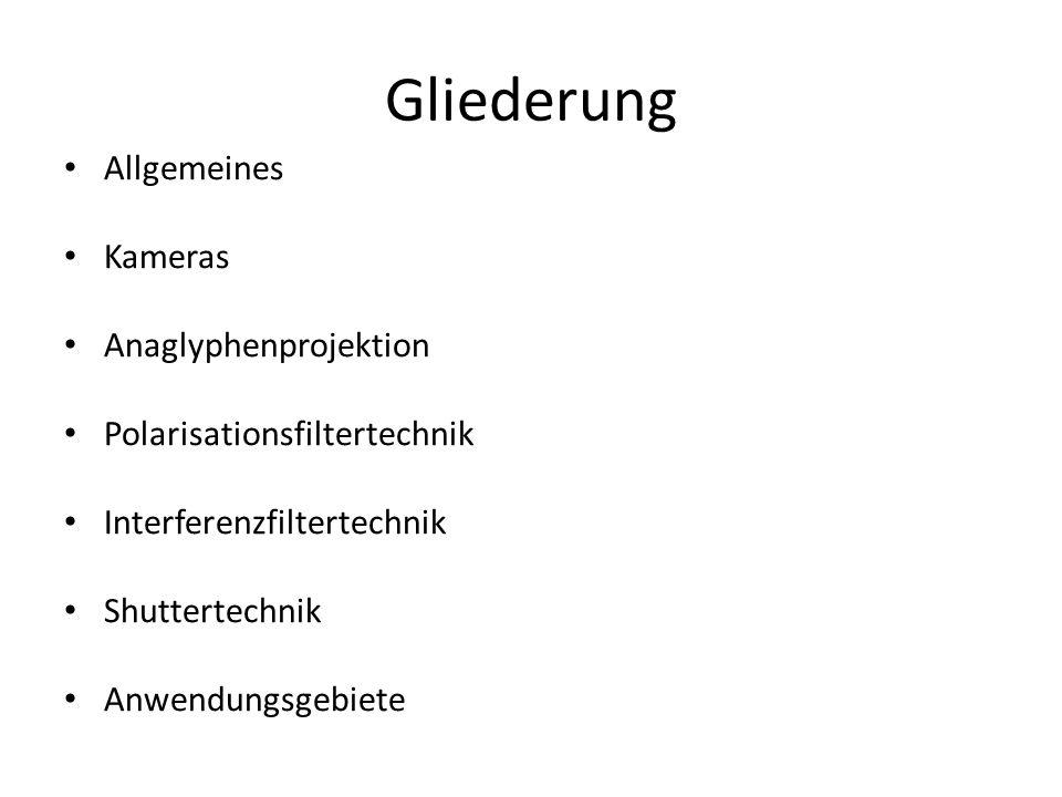 Gliederung Allgemeines Kameras Anaglyphenprojektion Polarisationsfiltertechnik Interferenzfiltertechnik Shuttertechnik Anwendungsgebiete