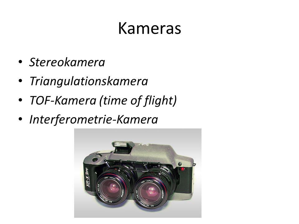 Kameras Stereokamera Triangulationskamera TOF-Kamera (time of flight) Interferometrie-Kamera