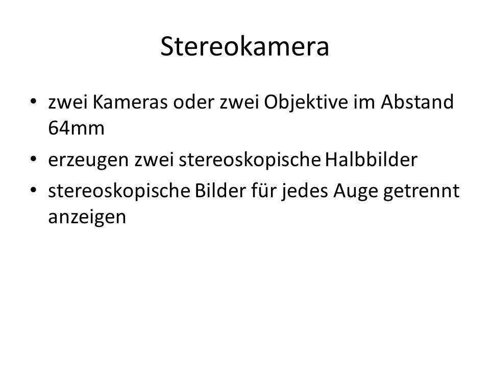 Stereokamera zwei Kameras oder zwei Objektive im Abstand 64mm erzeugen zwei stereoskopische Halbbilder stereoskopische Bilder für jedes Auge getrennt