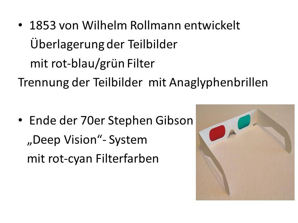 1853 von Wilhelm Rollmann entwickelt Überlagerung der Teilbilder mit rot-blau/grün Filter Trennung der Teilbilder mit Anaglyphenbrillen Ende der 70er