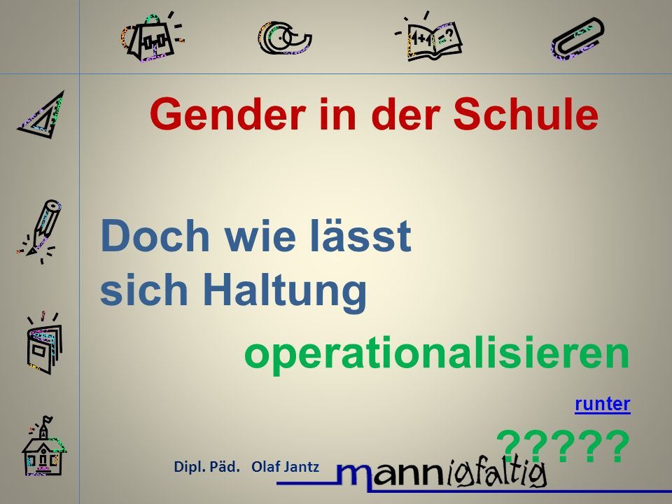 Gender in der Schule Dipl.Päd. Olaf Jantz Ist eine gute Haltung: Moral.