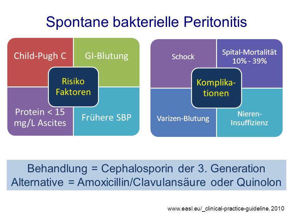 Behandlung = Cephalosporin der 3. Generation Alternative = Amoxicillin/Clavulansäure oder Quinolon Spontane bakterielle Peritonitis Child-Pugh CGI-Blu