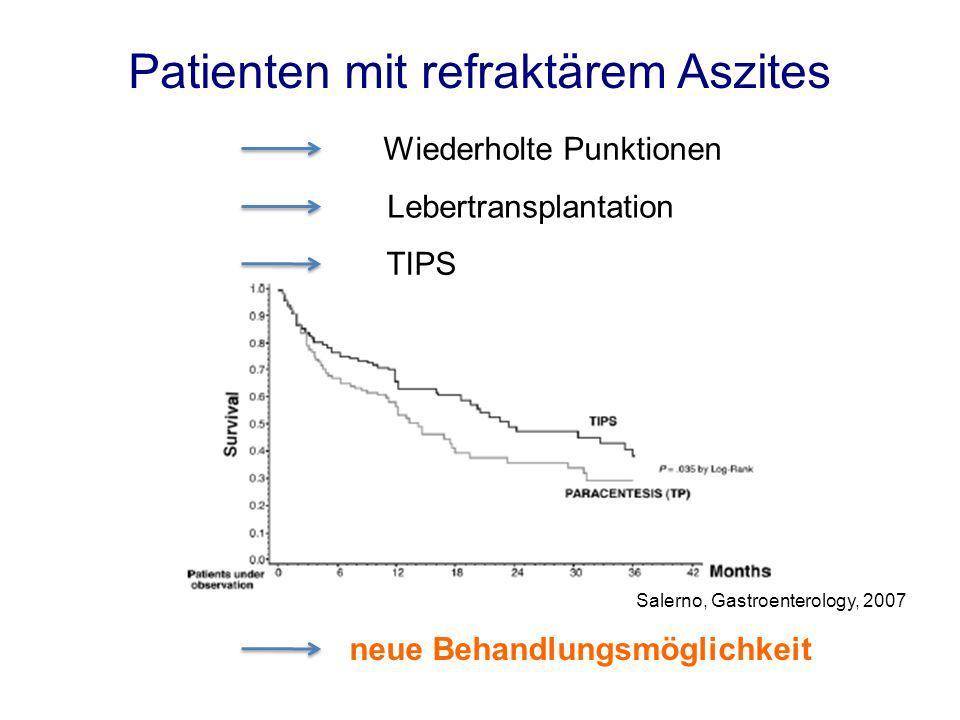 Wiederholte Punktionen Lebertransplantation TIPS neue Behandlungsmöglichkeit Salerno, Gastroenterology, 2007 Patienten mit refraktärem Aszites