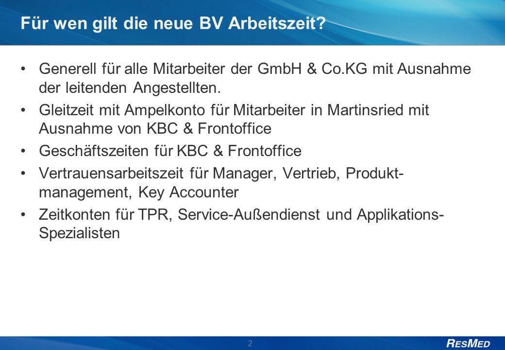 Für wen gilt die neue BV Arbeitszeit? Generell für alle Mitarbeiter der GmbH & Co.KG mit Ausnahme der leitenden Angestellten. Gleitzeit mit Ampelkonto