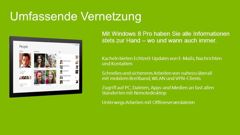Mit Windows 8 Pro haben Sie alle Informationen stets zur Hand – wo und wann auch immer.