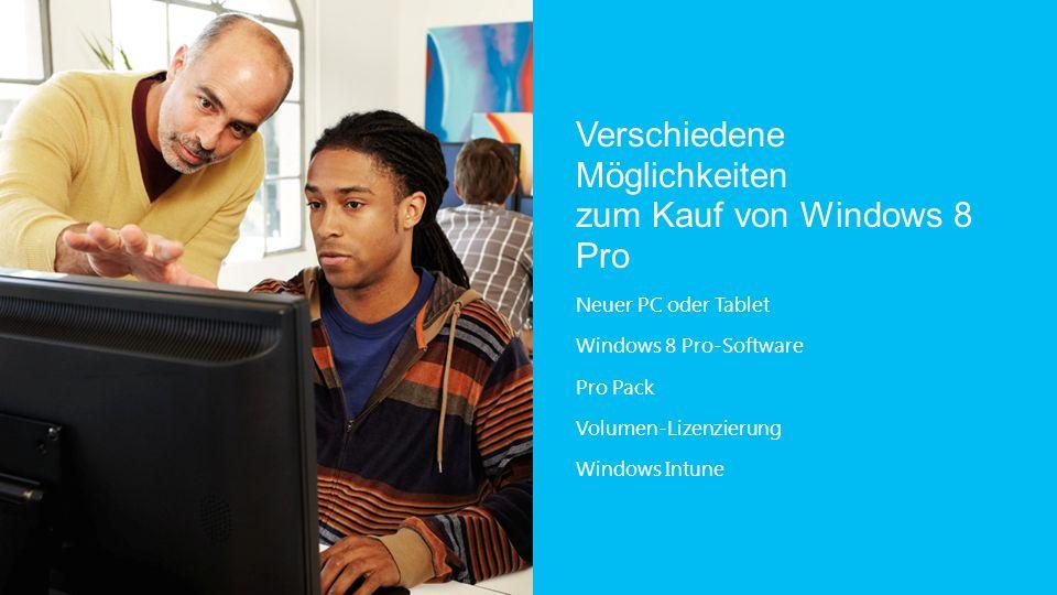Verschiedene Möglichkeiten zum Kauf von Windows 8 Pro Neuer PC oder Tablet Windows 8 Pro-Software Pro Pack Volumen-Lizenzierung Windows Intune