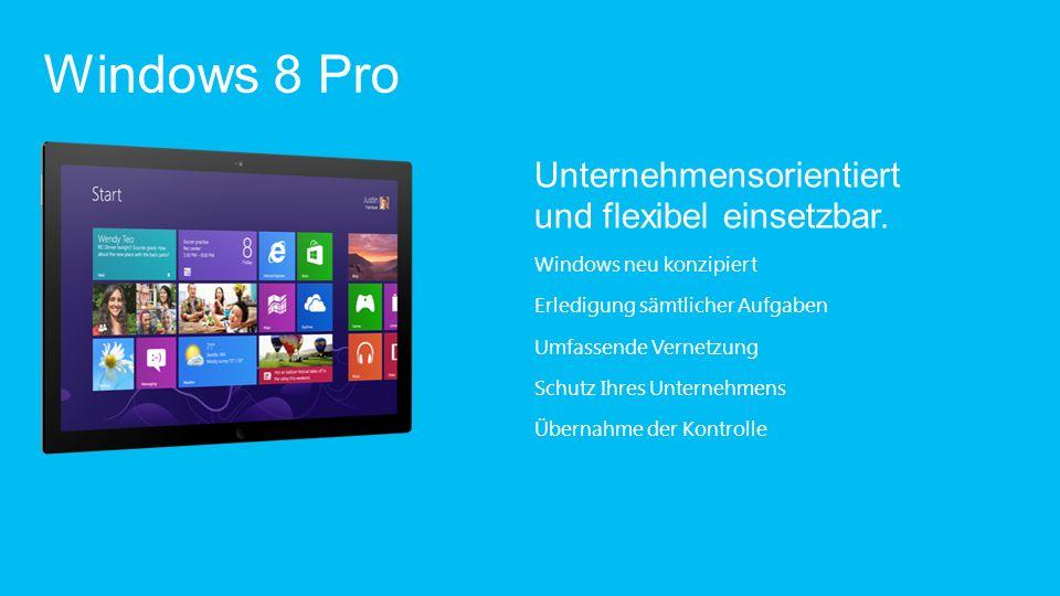 Entwickelt auf einer soliden Grundlage Neue Startseite Fingereingabe, Tastatur und Maus Vertrauter Windows-Desktop Unzählige Apps Windows Store Cloud-Anbindung Große Hardwareauswahl Windows neu konzipiert