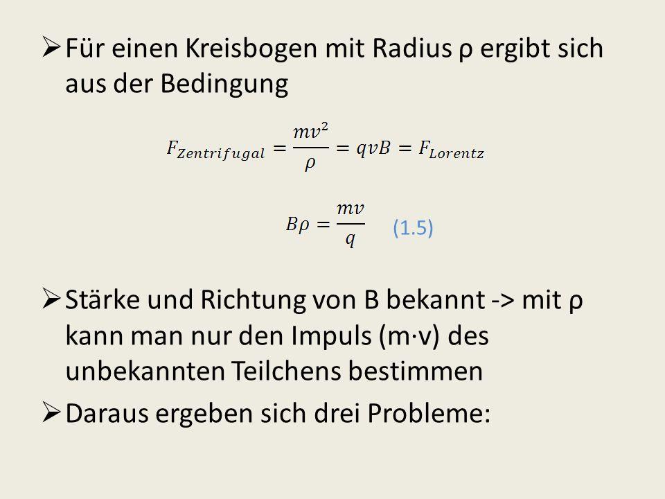 Für einen Kreisbogen mit Radius ρ ergibt sich aus der Bedingung (1.5) Stärke und Richtung von B bekannt -> mit ρ kann man nur den Impuls (mv) des unbe
