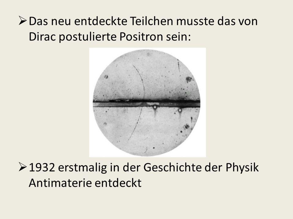Das neu entdeckte Teilchen musste das von Dirac postulierte Positron sein: 1932 erstmalig in der Geschichte der Physik Antimaterie entdeckt