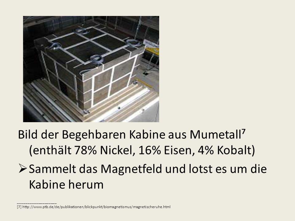 Bild der Begehbaren Kabine aus Mumetall (enthält 78% Nickel, 16% Eisen, 4% Kobalt) Sammelt das Magnetfeld und lotst es um die Kabine herum ___________