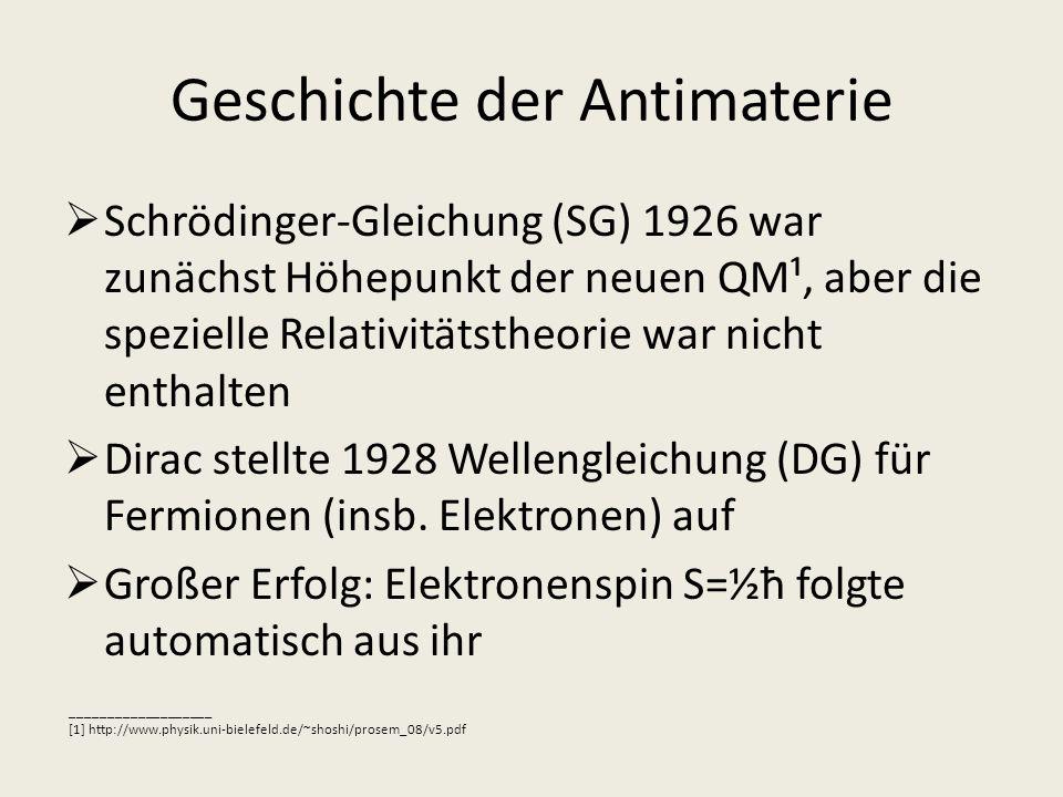 Geschichte der Antimaterie Schrödinger-Gleichung (SG) 1926 war zunächst Höhepunkt der neuen QM¹, aber die spezielle Relativitätstheorie war nicht enth