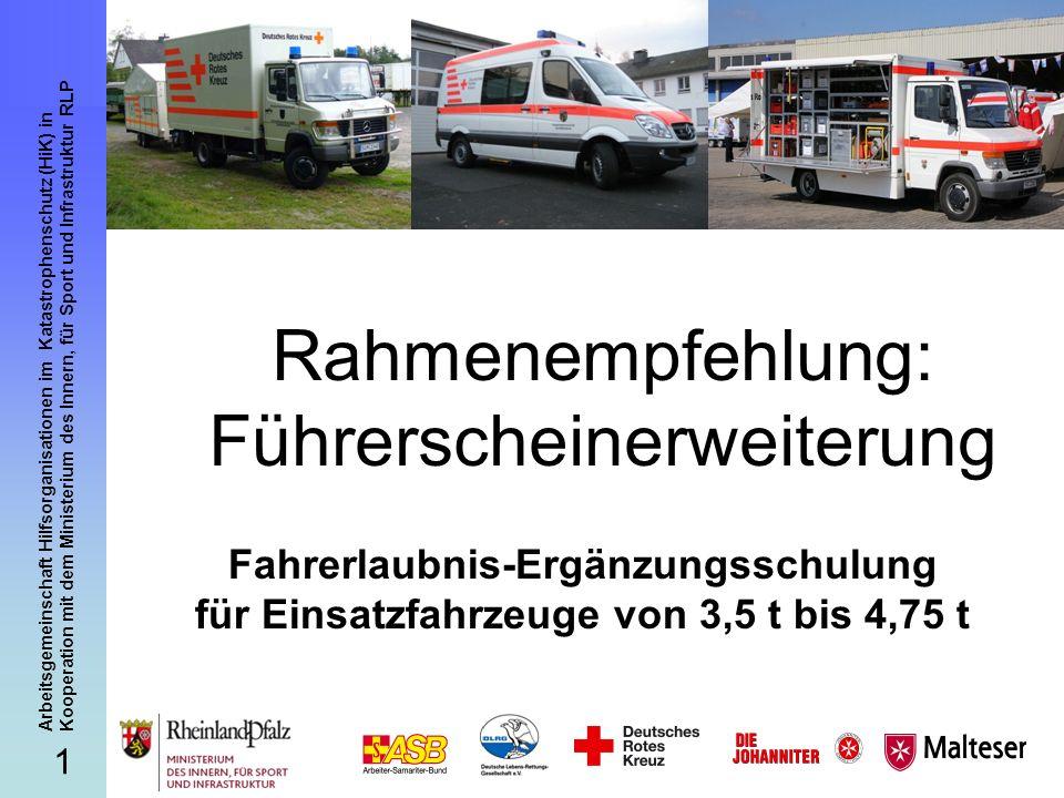 12 Arbeitsgemeinschaft Hilfsorganisationen im Katastrophenschutz (HiK) in Kooperation mit dem Ministerium des Innern, für Sport und Infrastruktur RLP Fahrerlaubnis-Ergänzungsschulung II b – Gefahrenbereiche der Toten Winkel: