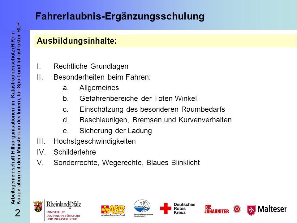 3 Arbeitsgemeinschaft Hilfsorganisationen im Katastrophenschutz (HiK) in Kooperation mit dem Ministerium des Innern, für Sport und Infrastruktur RLP Fahrerlaubnis-Ergänzungsschulung Landesverordnung über die Erteilung von Fahrberechtigungen zum Führen von Einsatzfahrzeugen der Freiwilligen Feuerwehren, der nach Landesrecht anerkannten Rettungsdienste und der technischen Hilfsdienste (Fahrberechtigungsverordnung Rheinland-Pfalz - FbLVO -) vom 9.