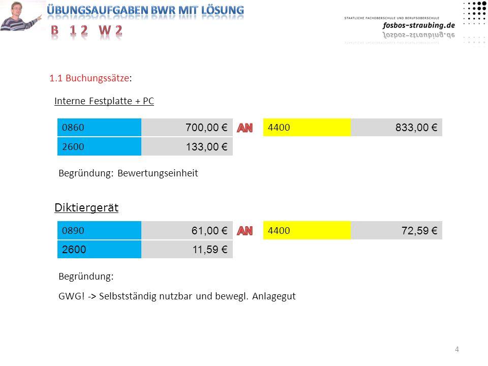 4 1.1 Buchungssätze: Interne Festplatte + PC 44000860 700,00 833,00 2600 133,00 Begründung: Bewertungseinheit Diktiergerät 4400 61,00 72,59 260011,59