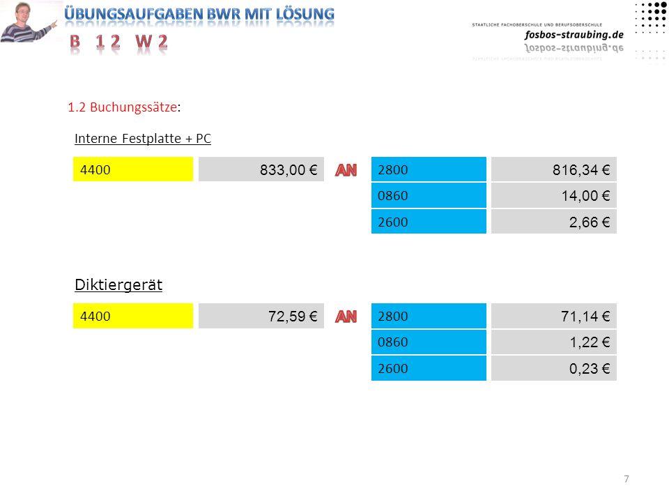 7 1.2 Buchungssätze: Interne Festplatte + PC 4400 0860 816,34 833,00 2600 Diktiergerät 4400 72,59 2800 14,00 2,66 2800 71,14 0860 1,22 0,23 2600