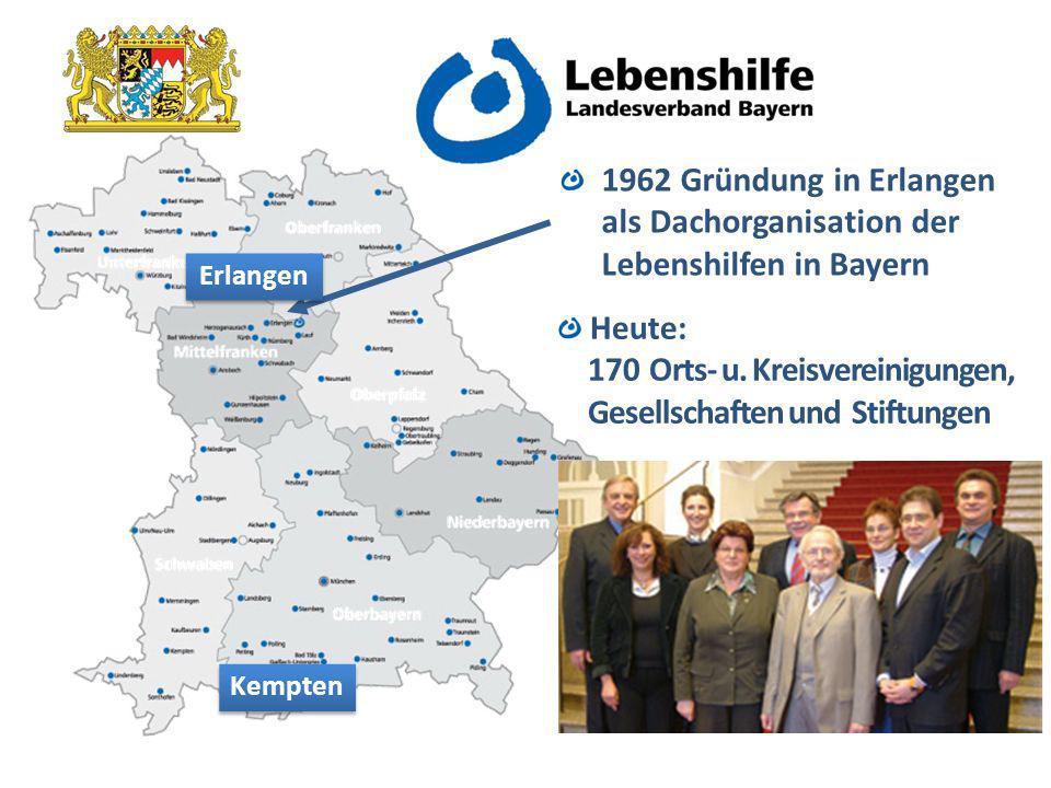 1962 Gründung in Erlangen als Dachorganisation der Lebenshilfen in Bayern Kempten Heute: 170 Orts- u.